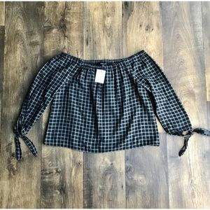 Madewell Black & White Plaid Off the Shoulder Top